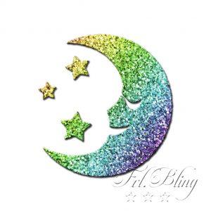 Glitzer Tattoo Schablonen MOND, Sonne, Sterne, Stern, gute Nacht,schlafen