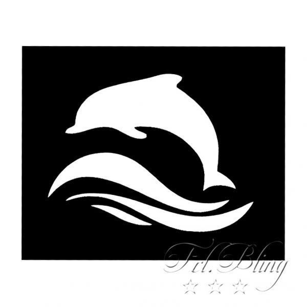 Glitzertattoo MINI Schablonen DELFIN klein, Glitzertattoo Schablonen DELFIN, Wasser, Wal, Hai, Urlaub, Delphin
