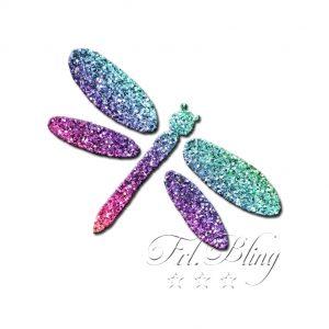 Glitzertattoo Schablonen LIBELLE, Schmetterling, sommer,