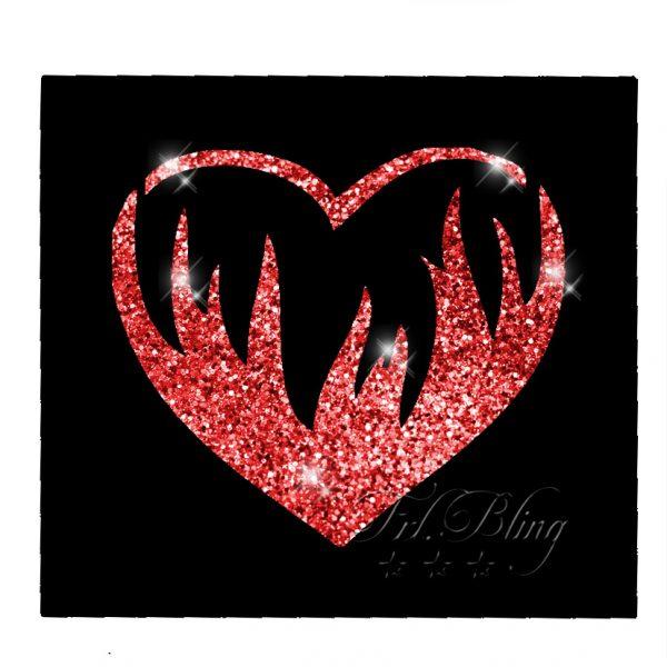 Glitzertattoo Schablonen HERZ in FLAMMEN, glitter. tatoo, tattoo,