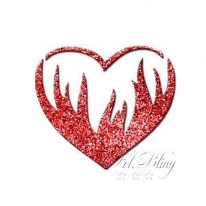 Glitzertattoo Schablonen HERZ in FLAMMEN, glitter. tatoo, tattoo,