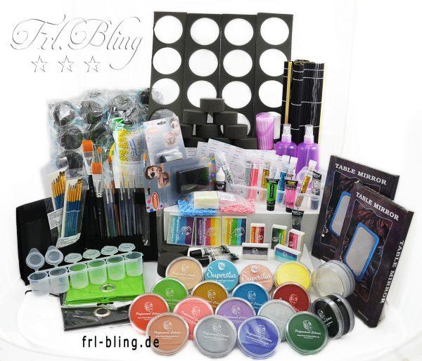 Kinderschminken Grundausrüstung XL , facepainting, Grundausstattung, sterter set, kinderanimation, hotel, schule, kindergarten, farbe gesicht