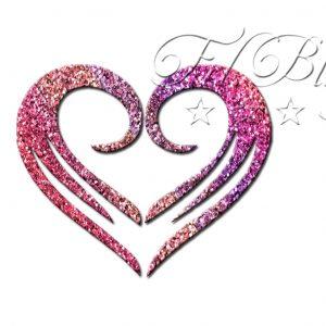 Glitzer Tattoo Schablonen HERZ cool, Tribal, cooles Herz, Liebe, Freundschaft, Symbol herz, tatoo