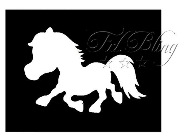 Glitzer Tattoo Schablonen PONY ,ponny, Pferd, reiten, Voltigieren. zwergpony. reiter,zoo