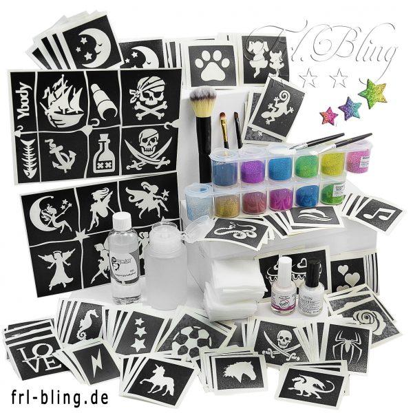 Glitzer Tattoo Set M, tatoo set, Ausrüstung glitzer, schulfest. partyset, Kindergeburtstag, Kinderschminken, Glitter tattoo, Bio glitzer, y body, Y-body