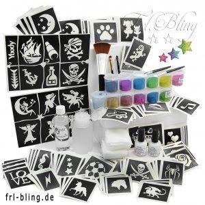 glitzertattoo, glitter tattoo, ybody, y body, glimmer, tatoo, frl. Bling, set günstig kaufen, glittertatoo, grundausstattung, set S, kosmetischer glitzer, kinderschminken, kimdergeburtstag,