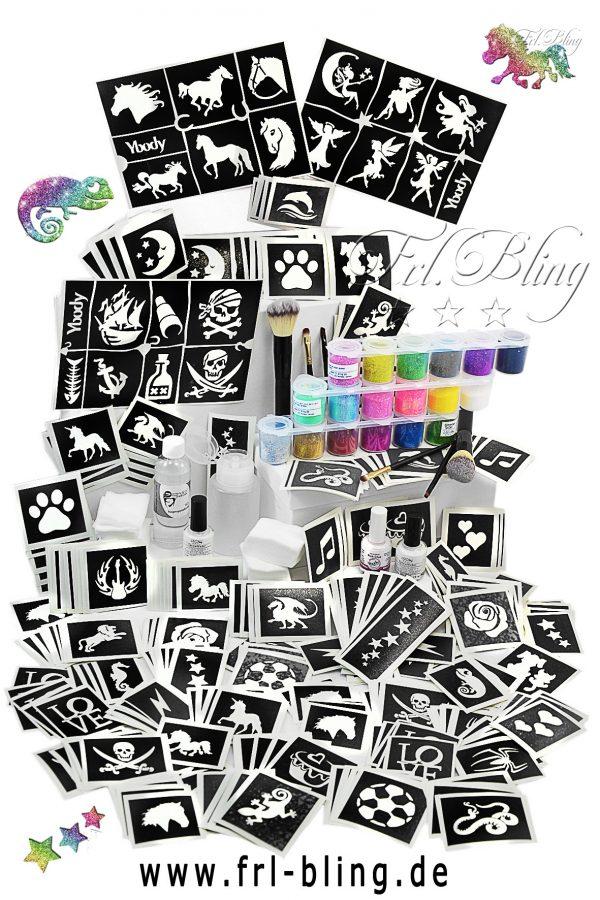 Glitzer Tattoo Set XL, Grundausrüstung, große Party, professionelles set, Mega set. gliiter tatoo, glitter , tattoos, airbrush