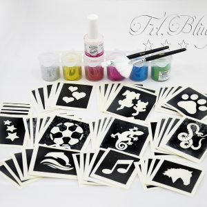 Glitzertattoo Set S, Glitzer Tattoo Set XL, Grundausrüstung, große Party, professionelles set, Mega set. gliiter tatoo, glitter , tattoos, airbrush