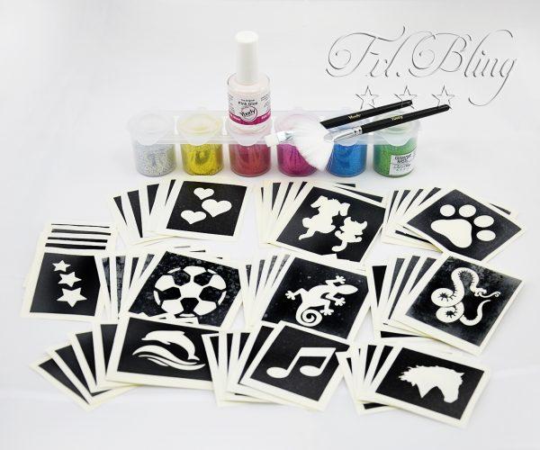 Glitzertattoo Set S, Glitzer Tattoo Set XL, Grundausrüstung, große Party, professionelles set, Mega set. gliiter tatoo, glitter , tattoos, airbrush