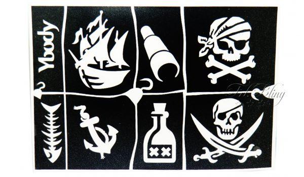 Ybody Schablonen Set PIRATEN, pirat, totenkof, glitzer, tattoo