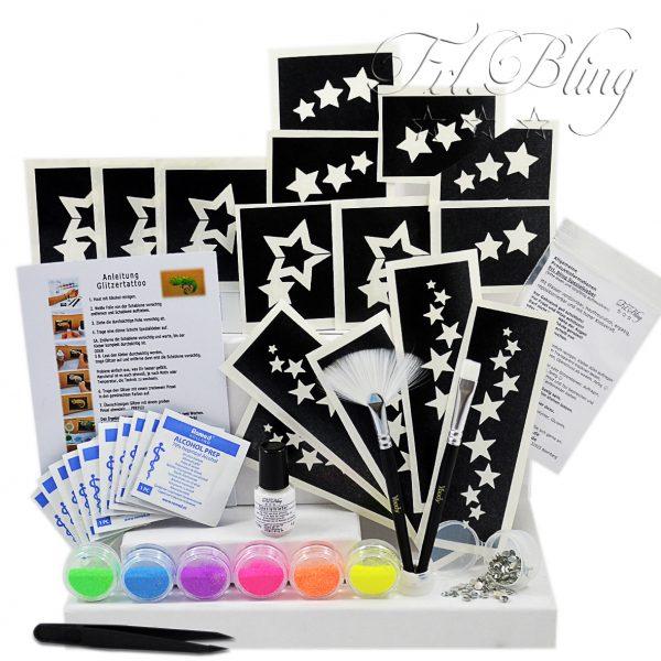 ybody, Glitzer Tattoo Set Neon UV, geschenkidee, adventskalender glitzer, glitzerset, geldgeschenk, glitzer schenken, schwarzlicht, neon, uv licht, party, y body