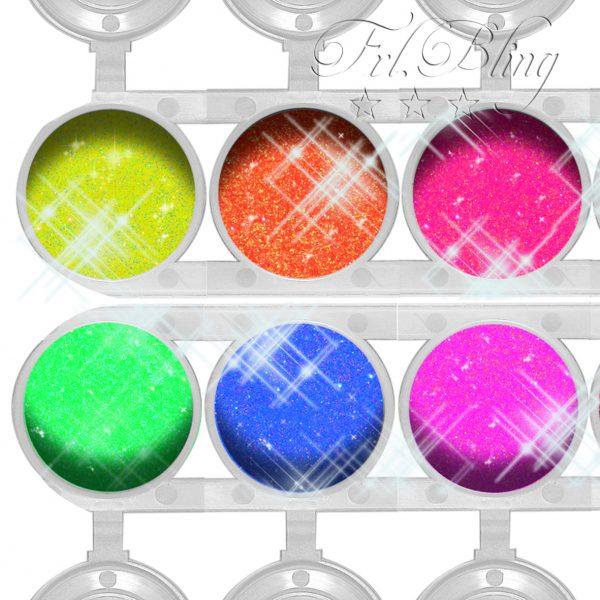 Glitzer Neon, UV, Schwarzlicht Glitzer, UV Party, Kinderschminken, Glitzertattoos neon, leuchtfarben. kosmetischer Glitzer