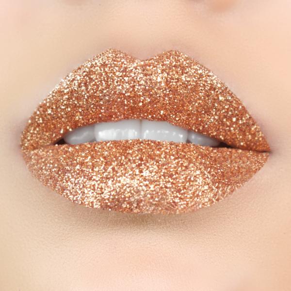 GUILTY-ROSE, Glitter Lips Glitzerlippen wasserfest GOLD, Gold, bronze, rosé, Glitter Lips Glitzerlippen wasserfest SILBER Co. - küssen, feiern, trinken, essen - Glitzer bleibt!, .make up, make up silvester, make up festival, make up, extreme, lippen party, fräulein bling,