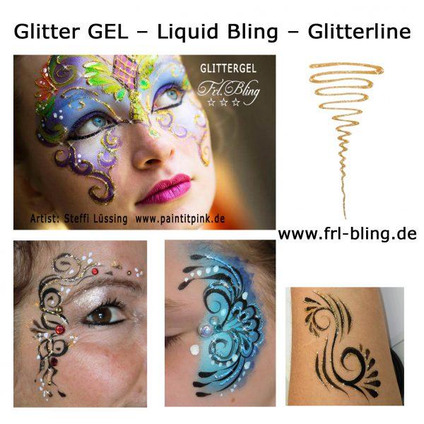 Liquid Bling, Glitter mark, Glitter line, glitzergel, Gel Glitzer, gel linien, Kinderschminken, kosmetisches Glitzer gel, Glitterline,