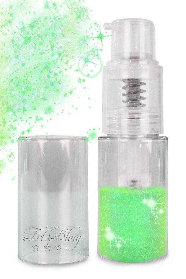 Glitter Puffer MAGIC GREEN, glitzer Spray, Pumpflasche, Zerstäuber, Glitterspray. puffer, magic, einhorn, prinzessin, fräulein bling, feenstaub. sternenstaub, kinderschminken, facepainting, glitzer kosmetisch