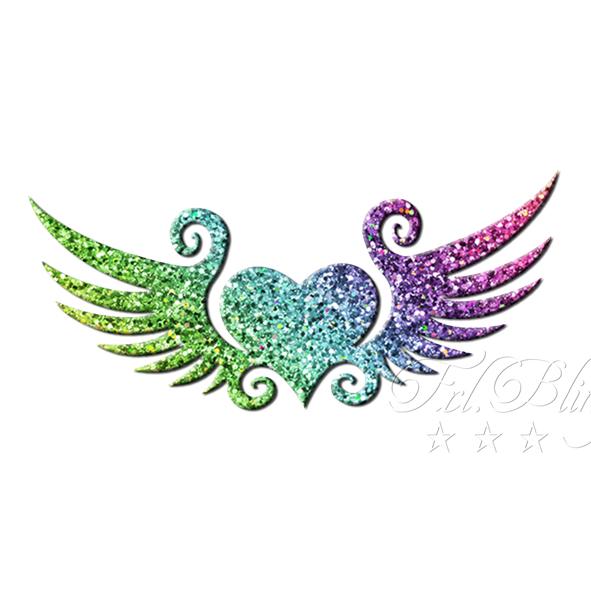 Herz mit Flügel 5 cm, Engel, engelsflügel, Scahblone, Glitzer tattoo schablonen Herz, Schablone Flügel, Glittertattoo Engel, Herz, Liebe SChablone, Bio, Frl. Bling