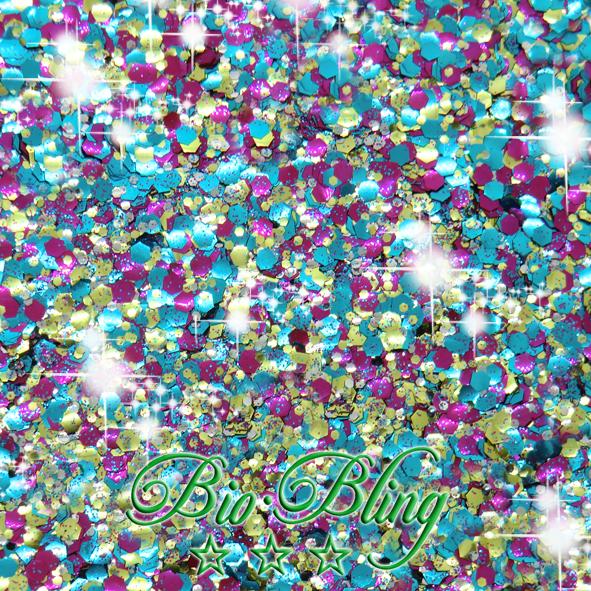bio glitzer partytimen, bio glitter, blue, bio chunky, frl. Bling, fräulein Bling, chunky bioglitter, kosmetischer glitzer bio, glitzer vegan,