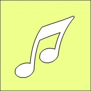 Papierschablone BIO Glitzertattoo NOTE, musik