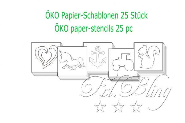 25 St Öko schablonen,Papier schablonen, öko glitzertatoos, umweltfreundlich, paperstencils, tattoo papier