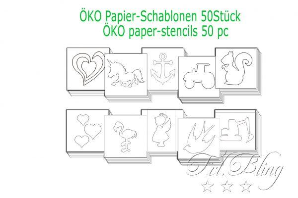 Papierschablonen Öko Schablonen 50, Papier schablonen, öko tattoos, paperstencils, schablonen glitzertattoos , papier, umweltfreundlich,