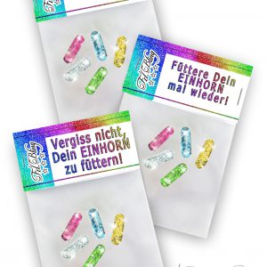 3 x Glitzerpillen EINHORN MIX Set 2