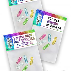 3 x Glitzerpillen EINHORN MIX Set 1